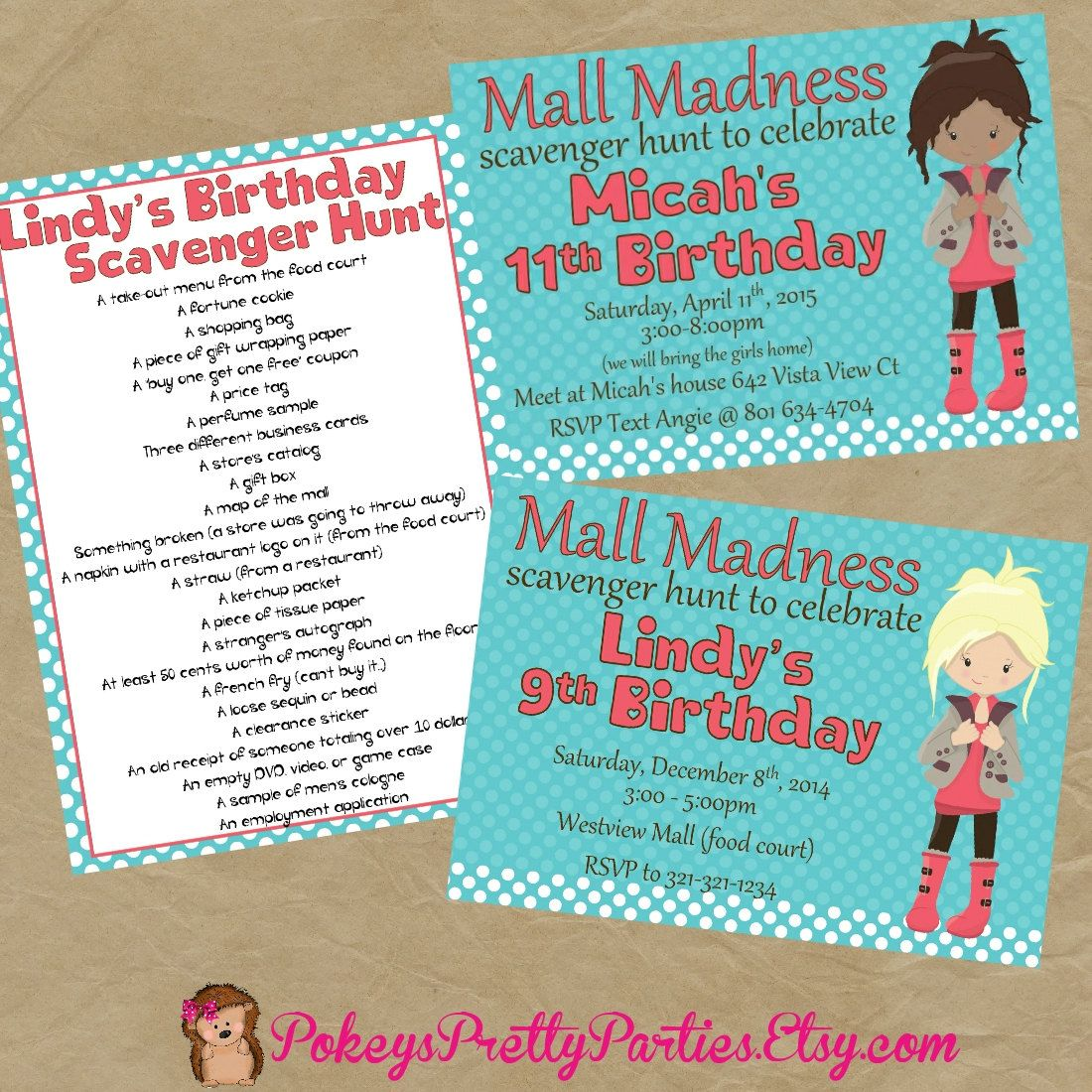 Mall Scavenger Hunt Birthday Party Invitation Invite | Scavenger ...