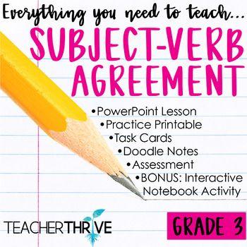 Third Grade Grammar And Language Unit On Subject Verb Agreement