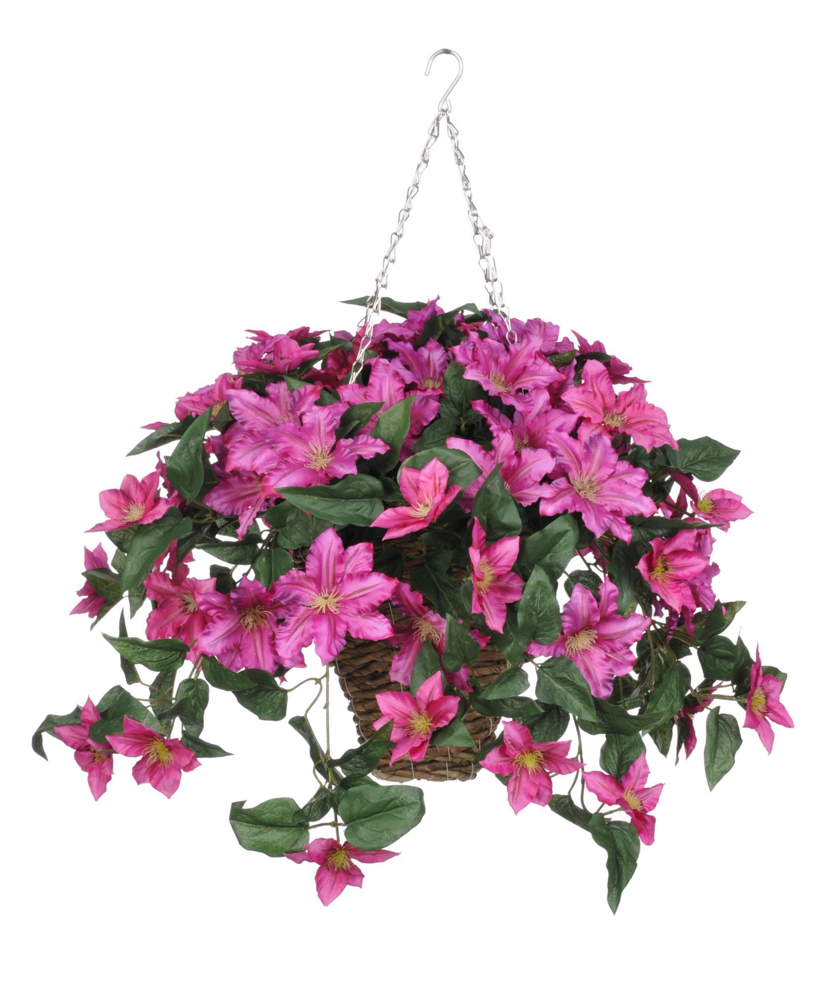 Artificial Clematis Hanging Plant In Square Basket Hanging Plant