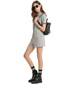 Home :: Rompers :: Short Sleeve Romper with Pockets Woven fabric,Point collar,Button placket,Chest pocket,Fitted waistband,Regular fit,Weight: 230g Price: $24.10 Buy More information