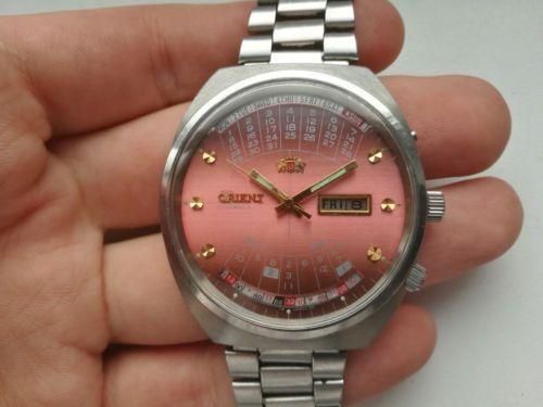 f97ad7b6e Rare AUTOMATIC JAPAN WATCH ORIENT MULTI YEAR CALENDAR VINTAGE PINK Serviced