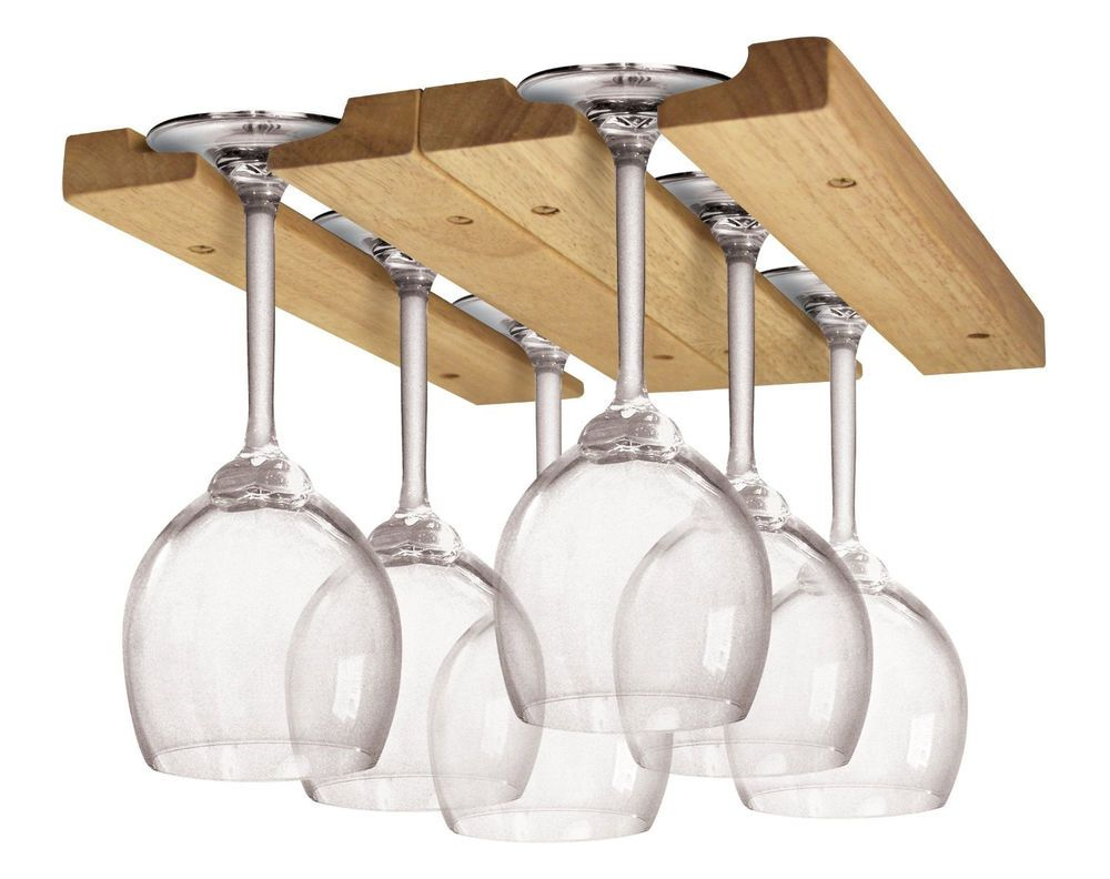 Wine Glass Holder Display Hanging Bar Shelf Wooden Under Cabinet