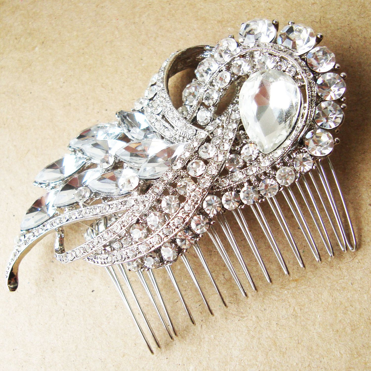 Statement bridal hair comb rhinestone crystal by luxedeluxe