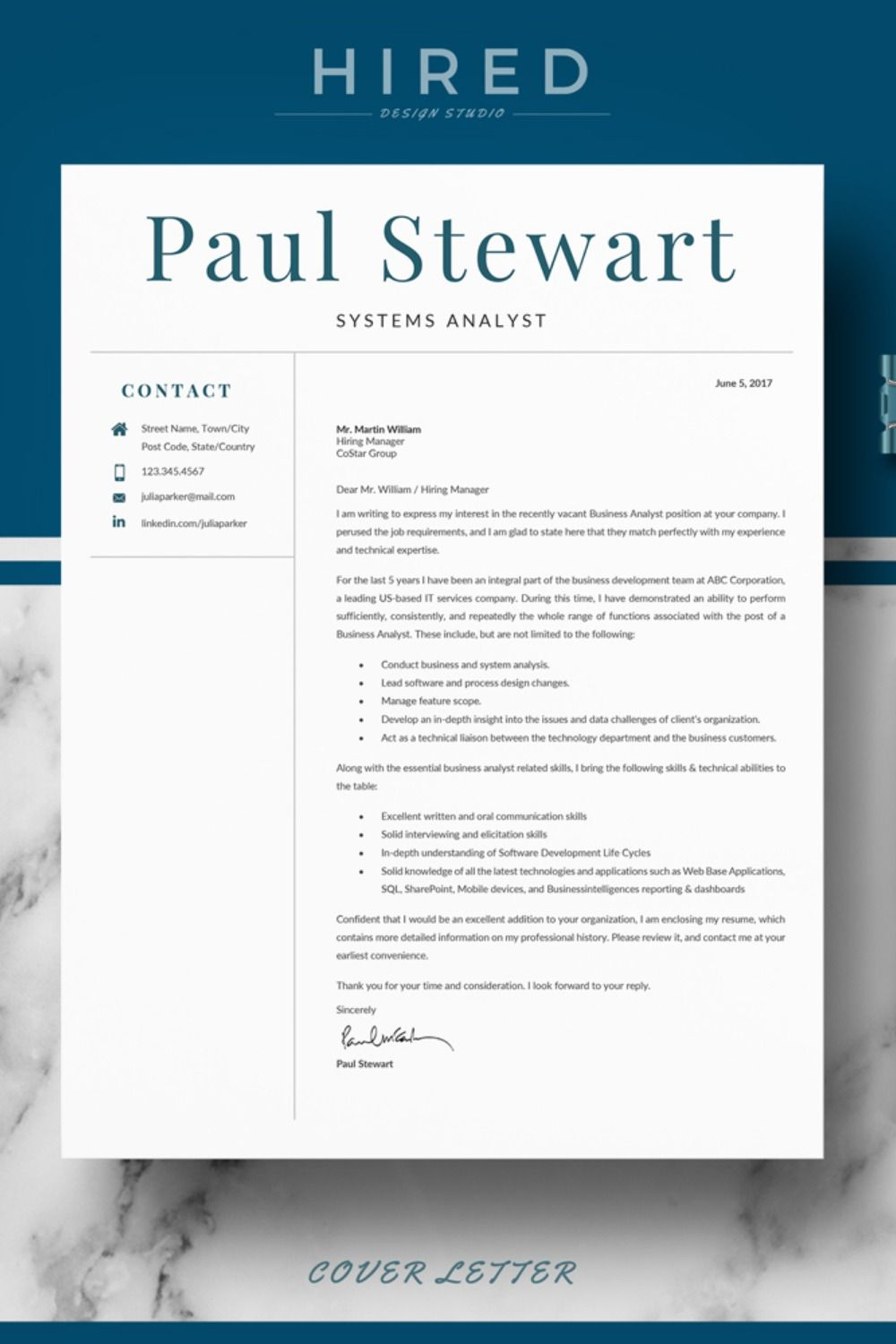 R37 PAUL STEWART Resume Template for Word & Pages. CV