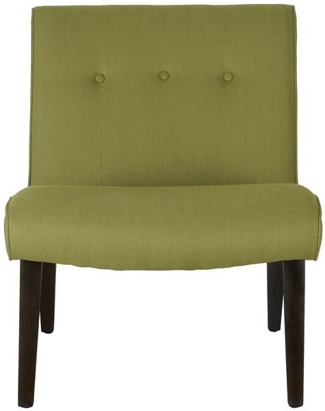 Mandell Accent Chair in Green Fabric on Wood Legs