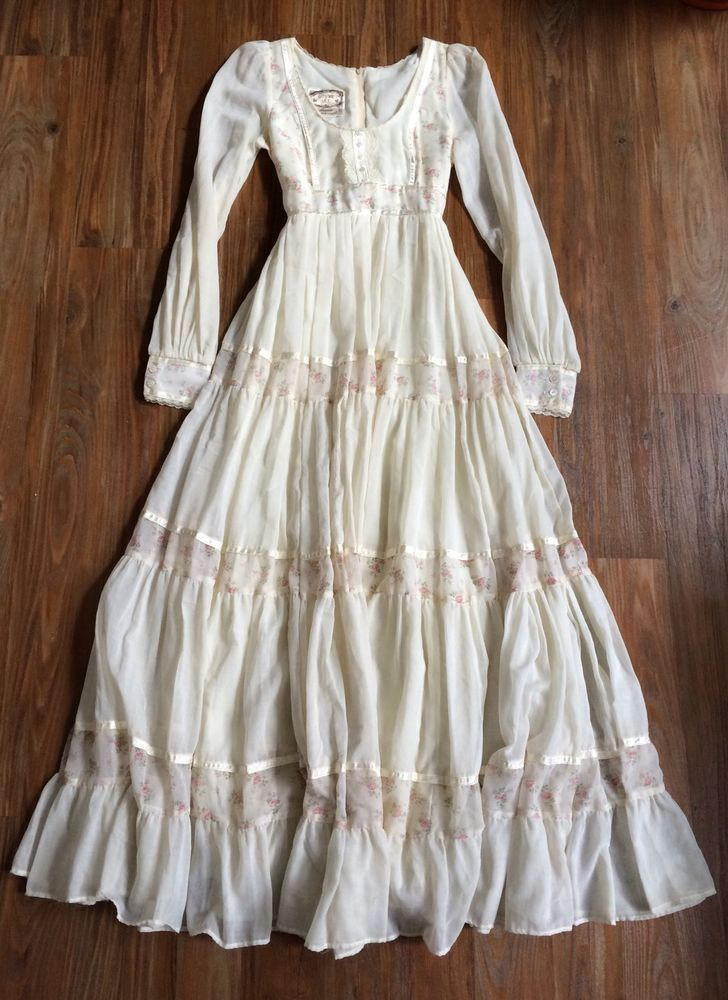 Euc gunne sax jessica mcclintock 1970s prairie wedding Wedding dress xs