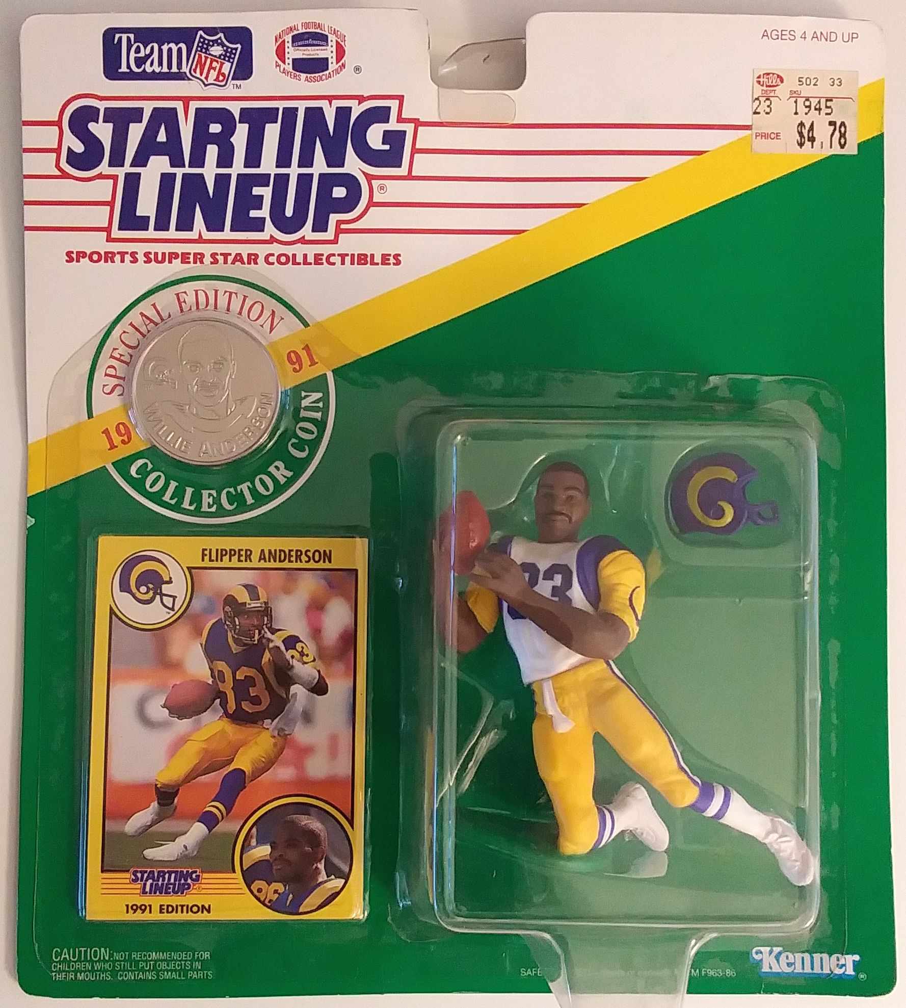 Kenner Starting Lineup Card LOS ANGELES RAMS 1991  FLIPPER ANDERSON