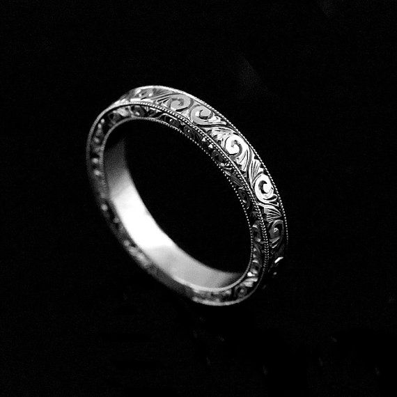 Hand Engraved Wedding Band Art Deco Wedding Band Black Etsy Hand Engraved Wedding Band Hand Engraved Wedding Ring Wedding Ring Bands