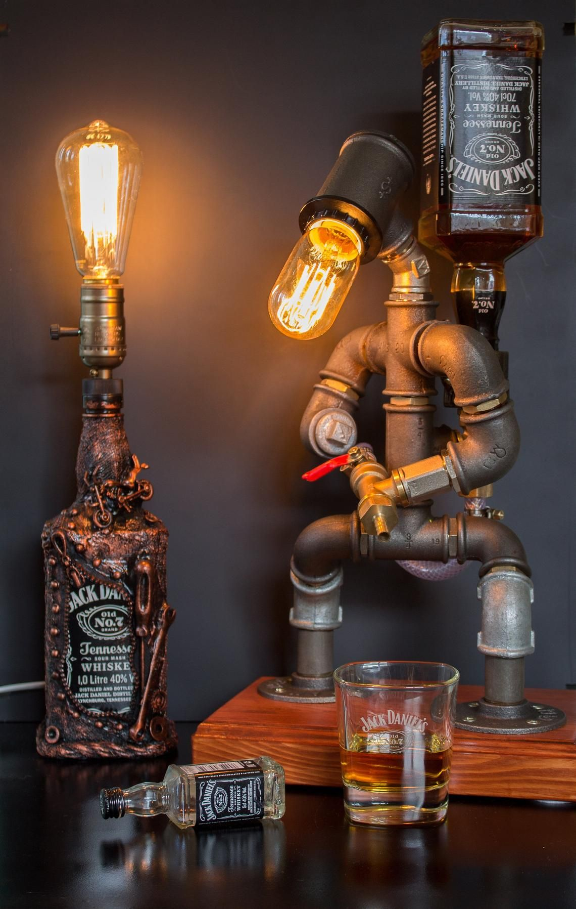 Photo of Alcohol Whiskey Dispenser, Firefighter Gift For Him, Jack Daniels Birthday Gift, Steampunk Fireman Tube Robot Lamp