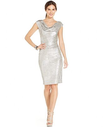 Vince Camuto Metallic Drape-Neck Sheath Dress - Vince Camuto Dresses -  Women - Macy s e6cf15c4ebdd