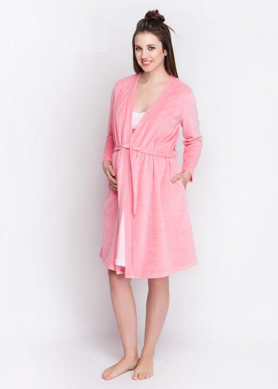 7ef8c11e54a Powder warm hospital robe & nightie Pregnancy gown Nursing gown Pink breastfeeding  gown Birthing gow
