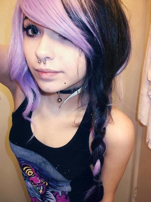 Lavender And Black Hair With Images Hair Color Hair Styles Emo Hair