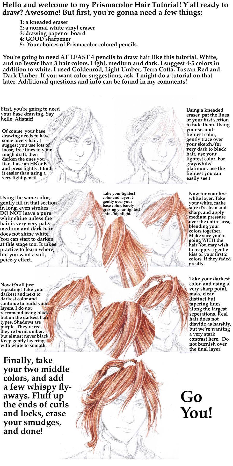 Prismacolor pencil hair tutorial by shondrea on deviantart