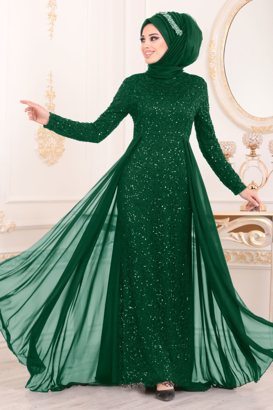 Nayla Collection Pullu Yesil Tesettur Abiye Elbise 90000y Tesetturisland Com Aksamustu Giysileri The Dress Elbiseler