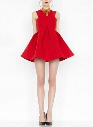 Red Sleeveless Mini Dress w/ Full Skater Skirt #ustrendy #chic #party #skaterskirt