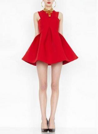 Red Sleeveless Mini Dress w/ Full Skater Skirt #ustrendy #chic #party #skaterskirt