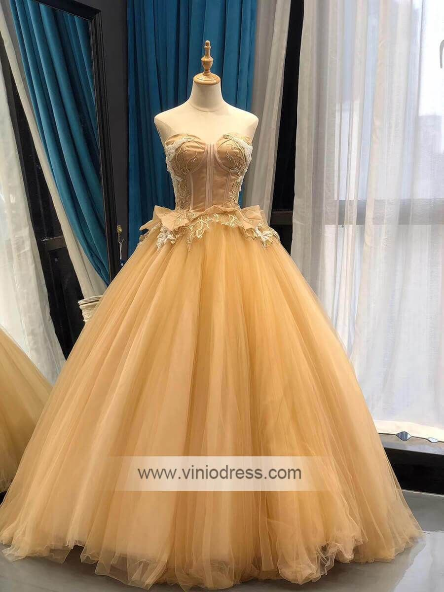 Strapless Gold Prom Dresses 60s Vintage Ball Gown Princess Dress Fd1053 Vintage Ball Gowns Prom Dresses Vintage Ball Gowns [ 1200 x 900 Pixel ]