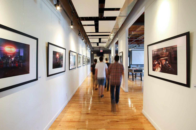 Ubisoft, Hallway, Open Ceiling, Framed Photographs , Wood