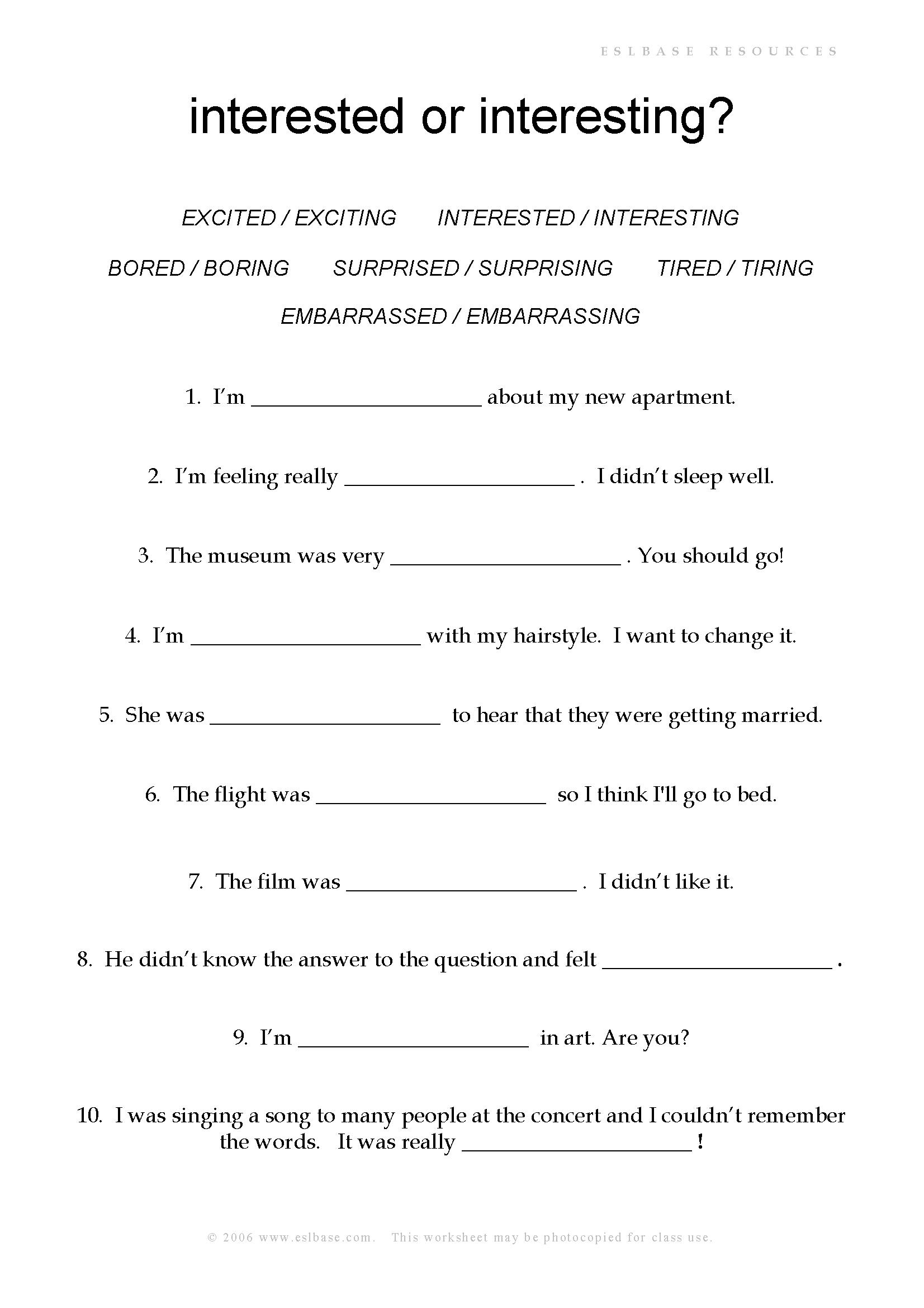 worksheet Direct Object Worksheet adjective endings ed or ing healthy recipes pinterest ing