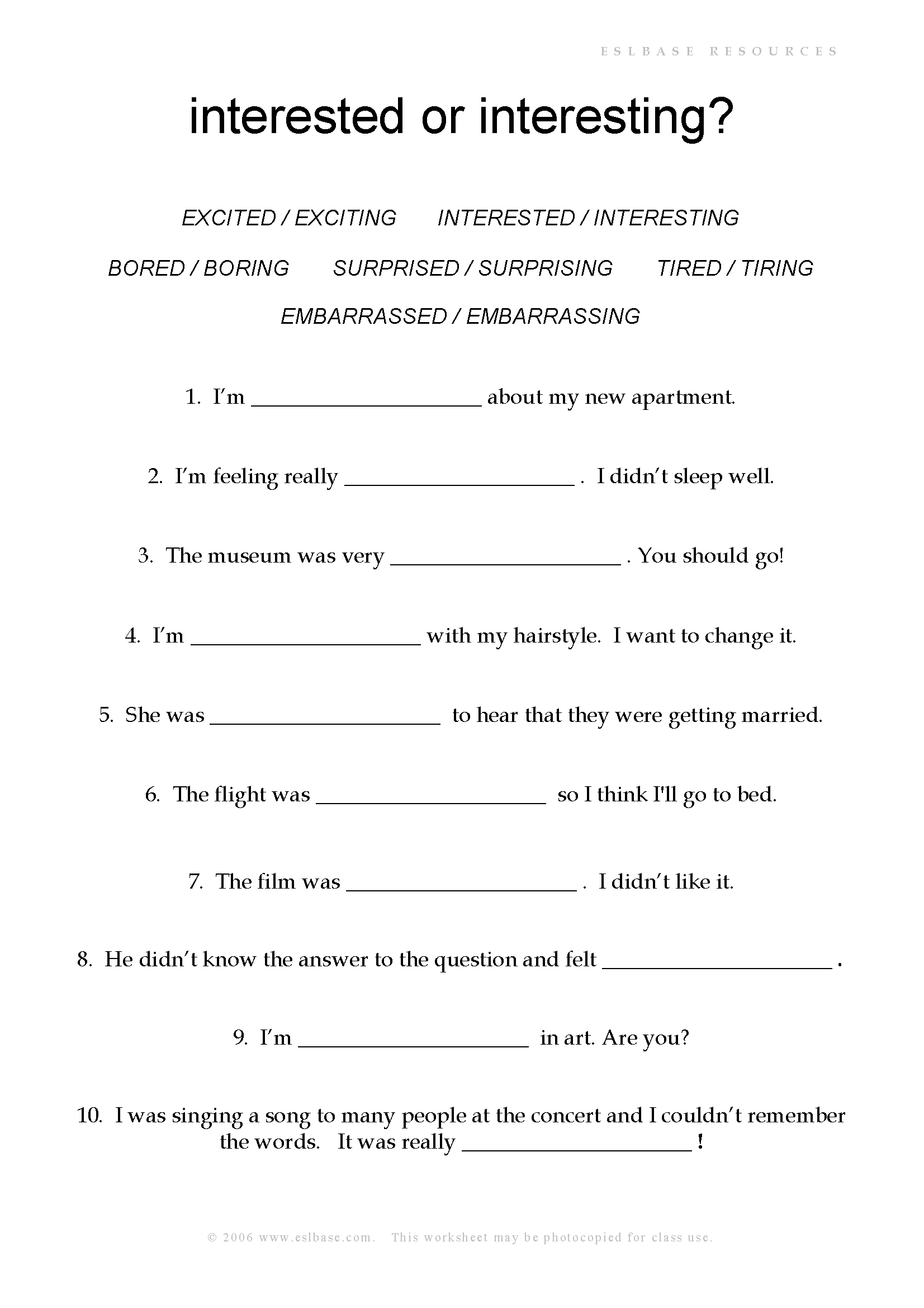 Adjective Endings Ed Or Ing