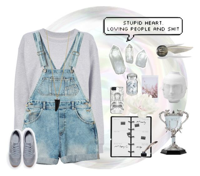 """Stupid Heart. loving People and sh*t"" by pamelagonzales ❤ liked on Polyvore featuring Maison Margiela, Monki, Jonathan Adler, Kikkerland, Bee Charming, Vita and Zara"
