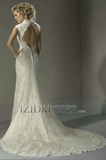 Sheath/Column V-neck Lace Wedding Dress - IZIDRESSES.com I love the back of this dress!!!