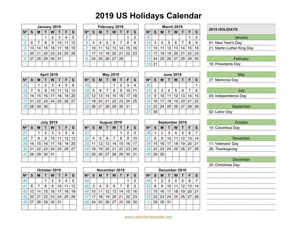 Christmas Holiday 2019 Usa US Holidays Calendar 2019 | 12 Month Calendar in One Pages | Us