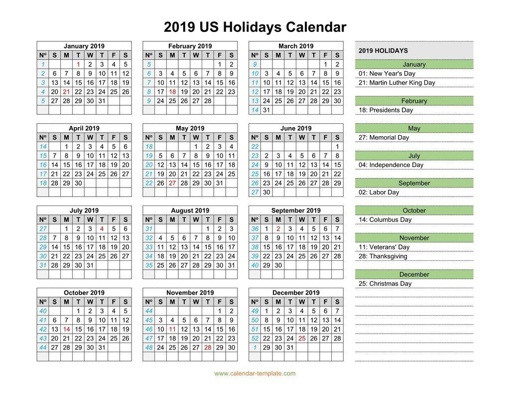 US Holidays Calendar 2019 Us holiday calendar, Calendar