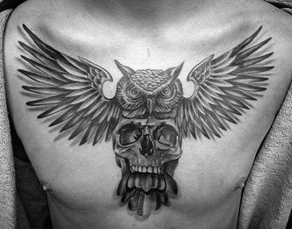 50 Owl Skull Tattoo Designs For Men Cool Ink Ideas Brusttattoos Fur Manner Tattoos Manner Tatowierungen
