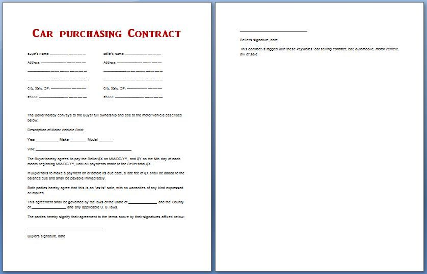 Car Purchase Contract Template Pinterest Car purchase and Template
