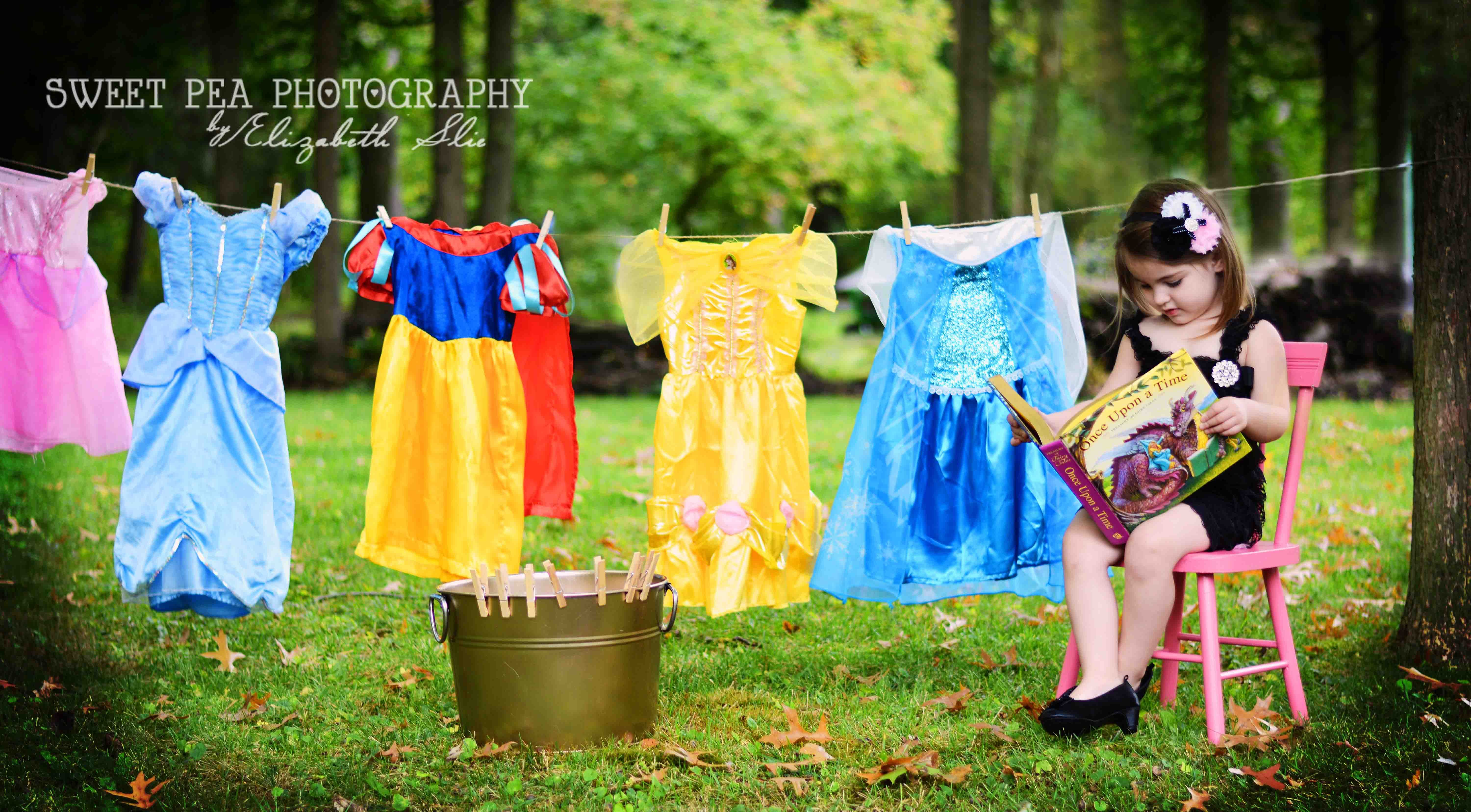 Disney Princess on laundry day clothes line 3 year old girl