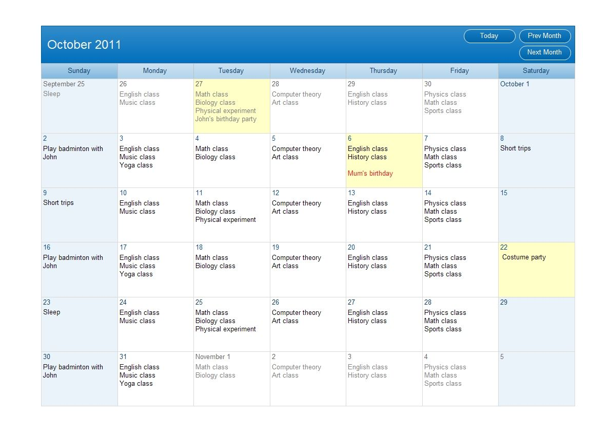 Calendar Design Zip : The example is a month calendar of classes drawn via edraw