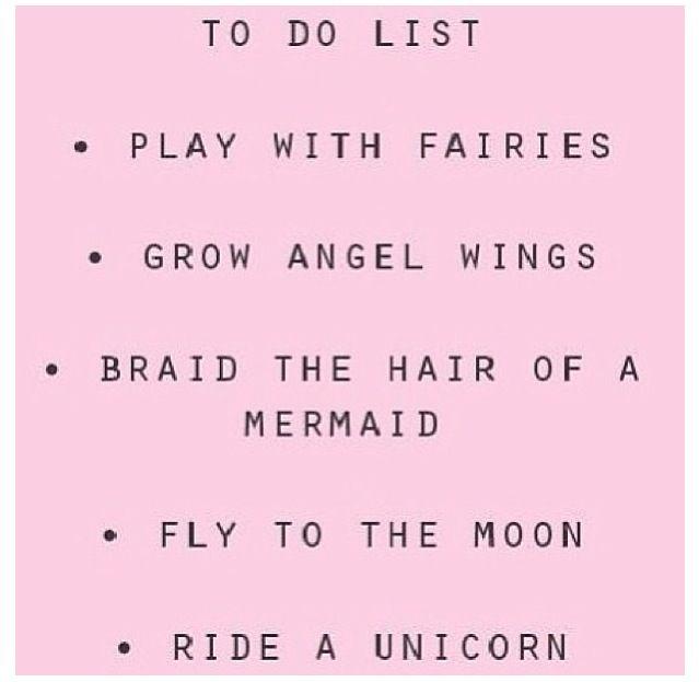 To Do List Play With Fairies Grow Angel Wings Braid The Hair Of A Mermaid Fly Moon Ride Unicorn