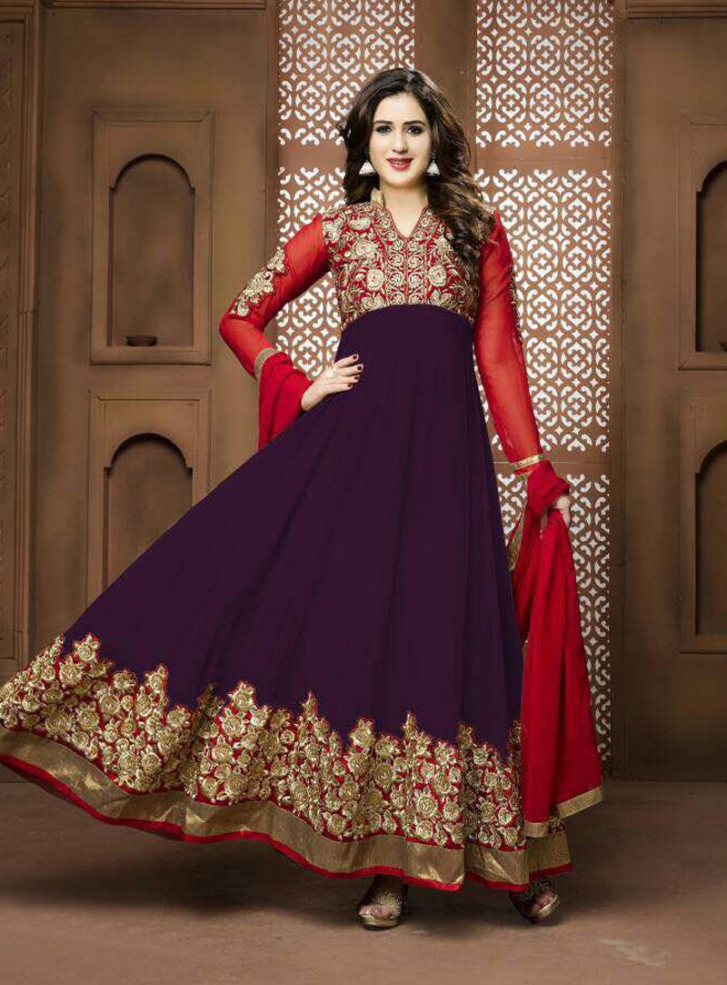 Purple Georgette Ankle Length Anarkali Suit 90611 | Anarkali Suit ...