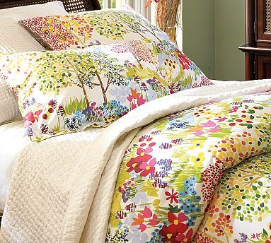 Colorful Bedding for guest room - with grey wall color would be perfect!
