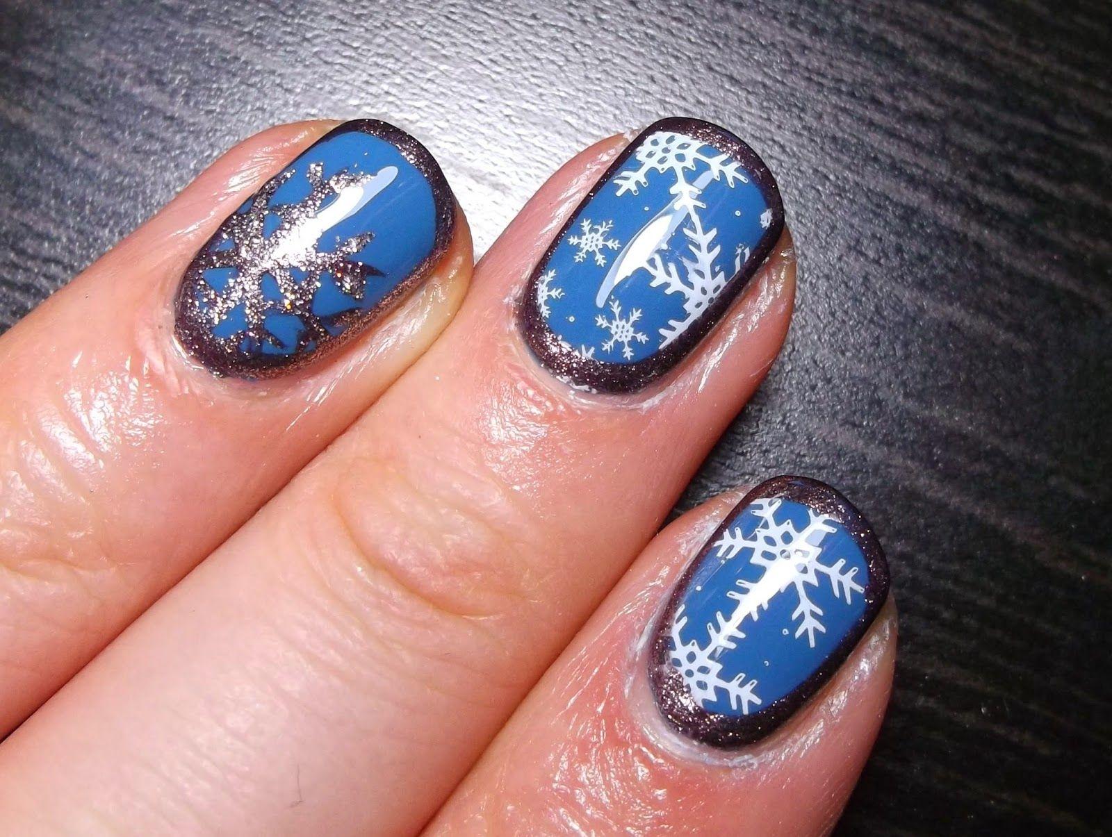 Charming Blue Snowflake Stamping Nails Httplakierownia Blog