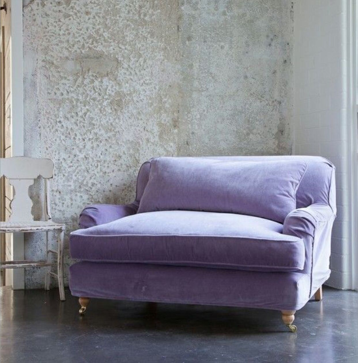 Lilac Loveseat. Lavender, Violet, Purple, Aubergine, Velvet, Sofa, Couch,  Chair, Gustavian, Swedish Rococo, Furniture, Concrete, Brick Modern, Vintage