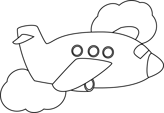 Black And White Airplane Flying Through Clouds Black And White Clouds Clip Art