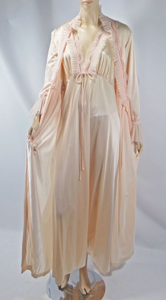 24604a5b9fe7 Vintage Jolie Two Nightgown Robe Set M Crystal Pleats Ruffles Lace Negligee  #JolieTwo