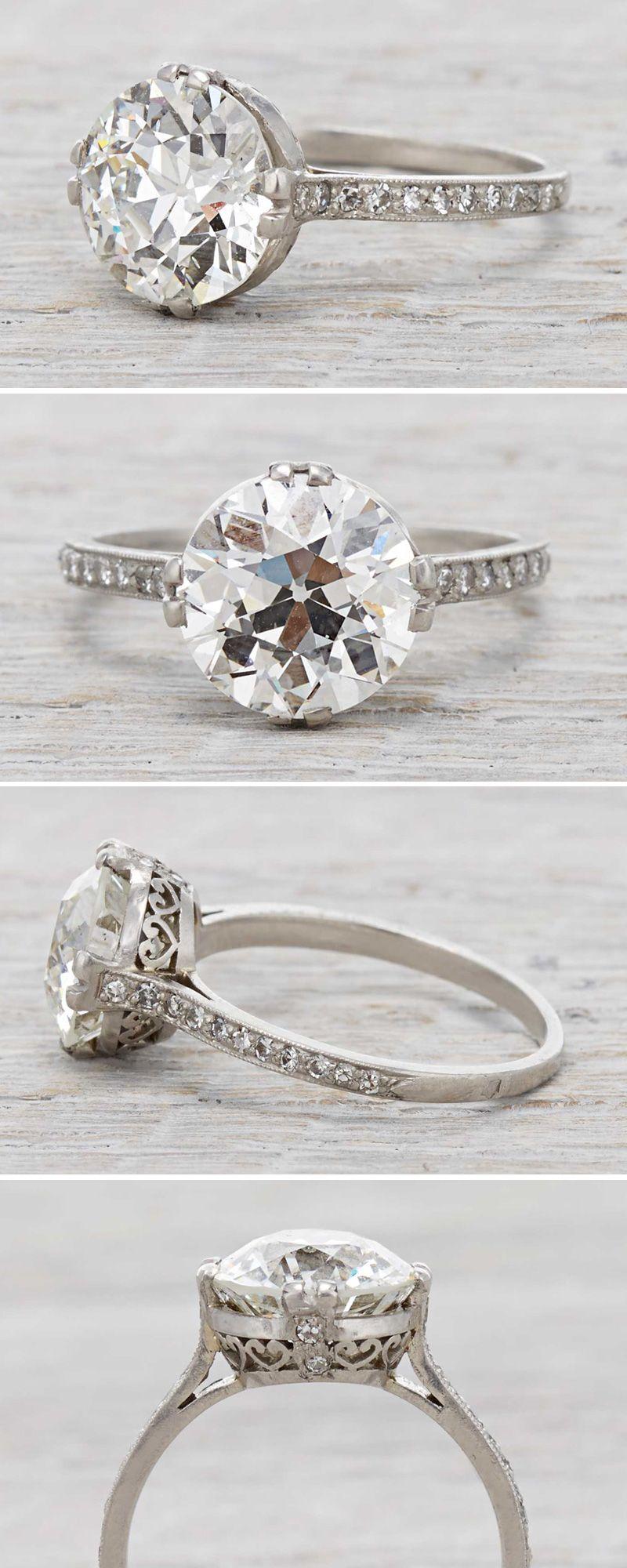 Art deco vintage engagement ring with a carat diamond circa