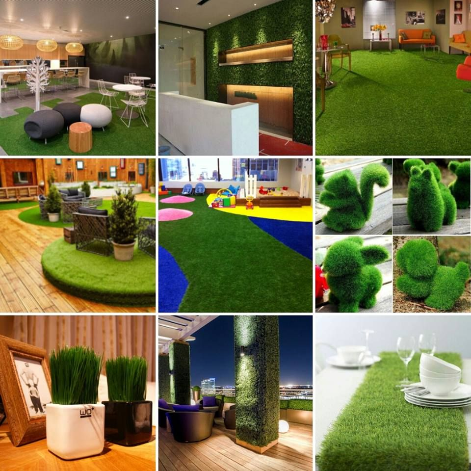 You can use artificial fake grass for indooroutdoor decorations