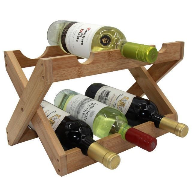Wine Rack Bottle Holder Storage Wood Bar Cabinet Kitchen Decor