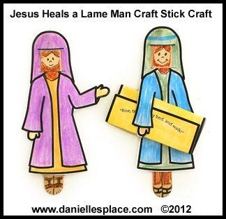 Jesus heals the lame man craft stick bible craft for for Jesus heals paralyzed man craft