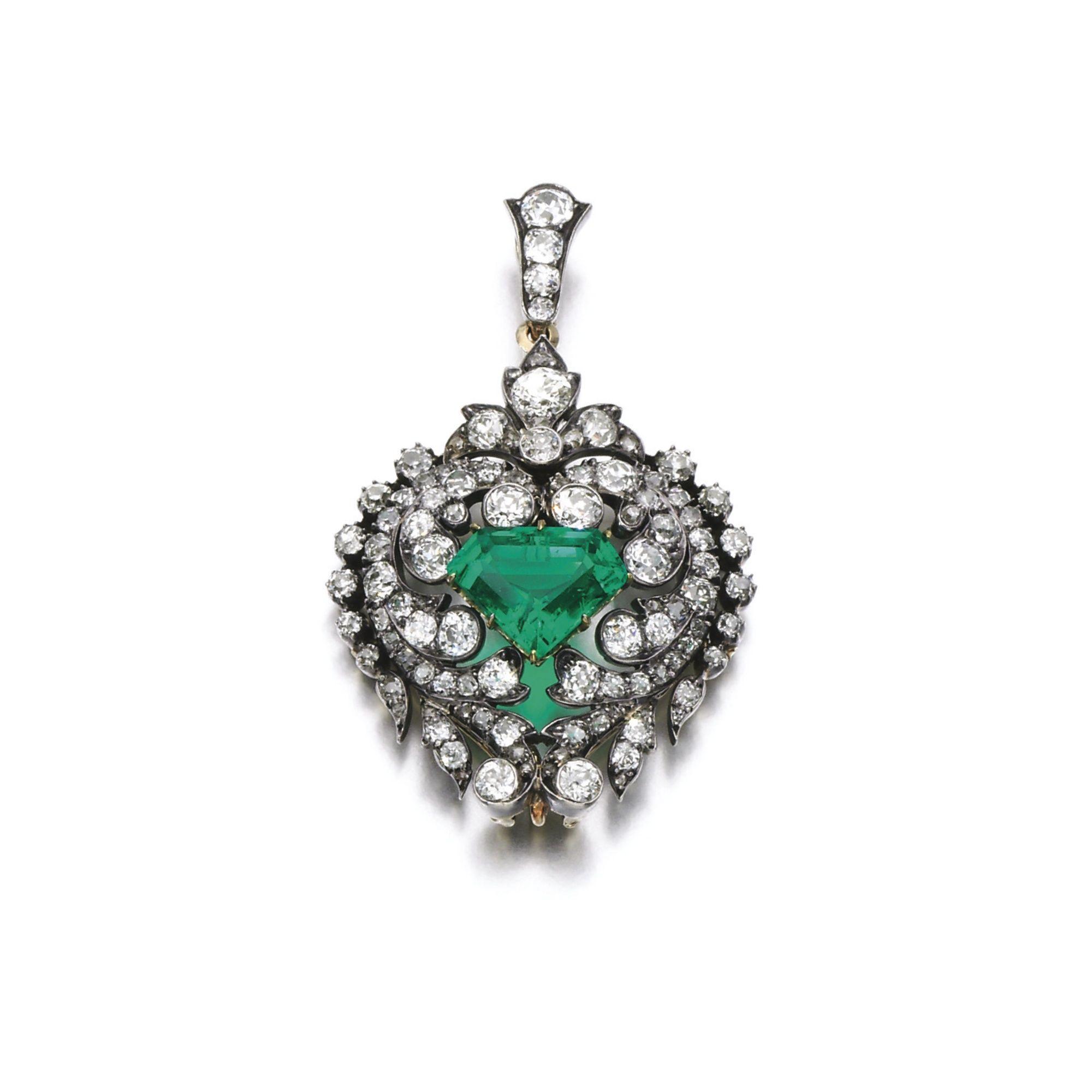 Emerald and diamond brooch pendant late th century lot