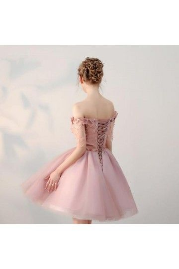c71c8a1e9e3 Cheap Luxurious Cheap Prom Dresses Chic Short Pearl Pink Off-the-shoulder  Homecoming Dress