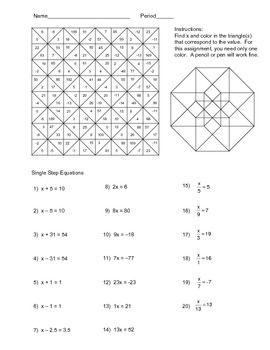 Solving Single Step Equations Color Worksheet  Negative numbers