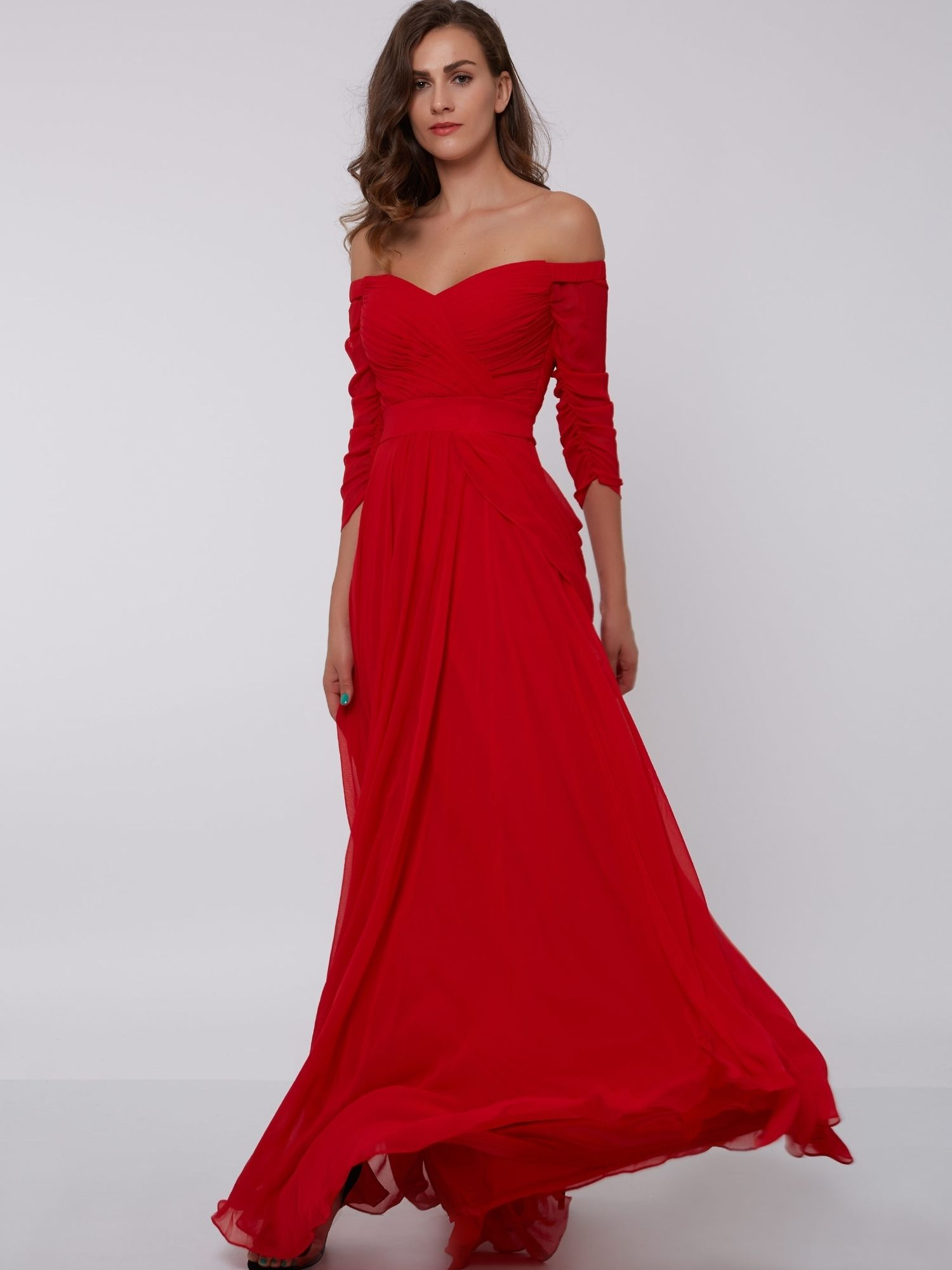 3ac81336dc4e A-Line Off-the-Shoulder 3/4 Length Sleeves Pleats Ruched Evening Dress  Clean:Dry Clean Only; Material:Chiffon; Body Shape:All Sizes; Silhouette:A- Line; ...