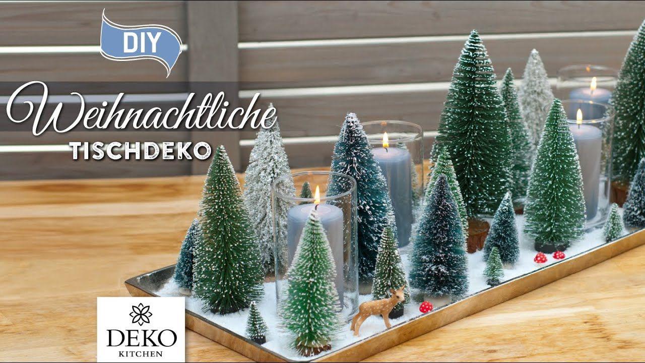 Diy Superschnelle Weihnachtliche Tischdeko Mit Waldlandschaft How To Weihnachtsdeko Fenster Basteln Weihnachten Weihnachtliche Tischdeko Basteln