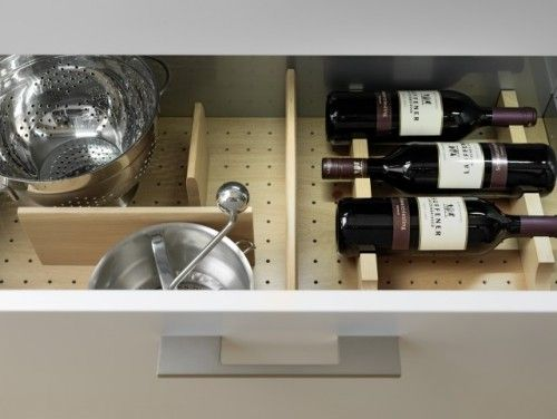Organize drawers with peg board on the bottom and movable inserts. Good for bathroom, kitchen