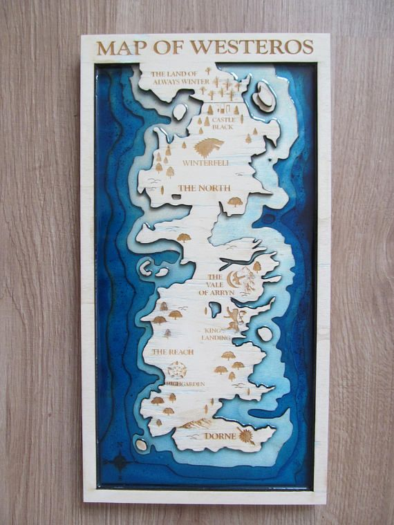 Game Of Thrones Wooden Map Resin Wood And Resin Map Map Of Thrones